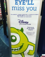 Woodshire Disney Store closing sign