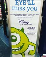 Canton, NY Disney Store closing sign