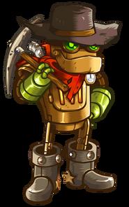 A rusty steamworld dig guy