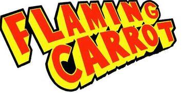 A flaming carrot logo