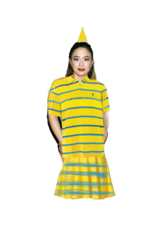 Ally Brooke Hernandez Long Brown Hair with a Clip wearing a Yellow Santa Claus Hat, Yellow Polo Shirt with Blue Stripes, and Yellow Skirt with Blue Stripes