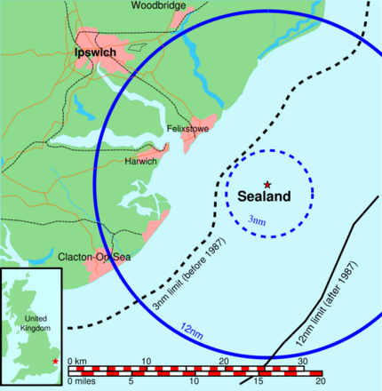 Map of Sealand with territorial waters