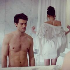 This is the bathroom scene after Ana  lost her virginity