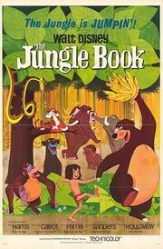 """Drawing of a jungle. A boy wearing red laincloth walks holding hands with a bear which holds a bunch of bananas above his head, while an orangutan follows them and a black panther watches them from behind a bush. A tiger lies on the branch of a tree while snake comes from the leaves above. In the background, three elephants. At the top of the image, the tagline """"The Jungle is Jumpin'!"""" and the title """"Walt Disney The Jungle Book"""". At the bottom, the names of the main voice actors and the characters they play."""