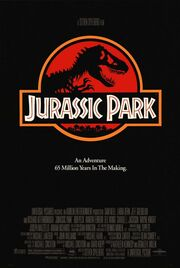 """A black poster featuring a red shield with a stylized Tyrannosaurus skeleton under a plaque reading """"Jurassic Park"""". Below is the tagline """"An Adventure 65 Million Years In the Making""""."""