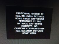 RCA and Columbia Pictures Home Video Closed Captioned ID