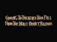 Coming to Theatres This Fall from the Walt Disney Studios