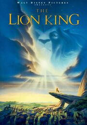 """In an African savannah, several animals stare at a lion atop a tall rock. A lion's head can be seen in the clouds above. Atop the image is the text """"Walt Disney Pictures presents The Lion King""""."""
