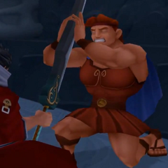 Auron attacking Hercules before regaining his free will.