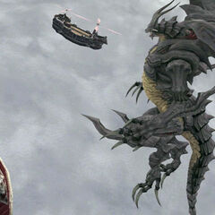 Bahamut attacking the airships of <a class=