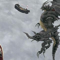 Бахамут нападает на воздушные корабли Дженуо.