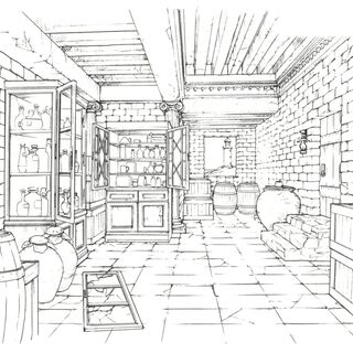 Concept art of a storage room.
