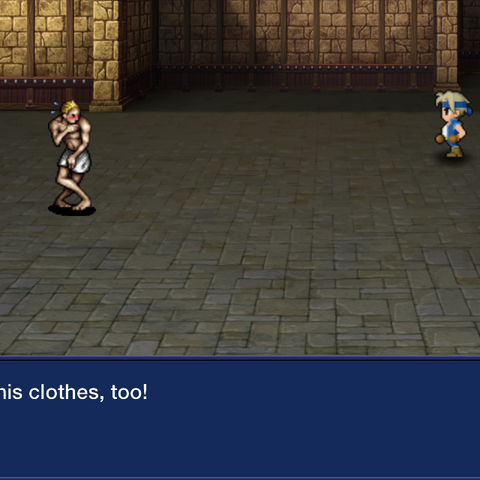 Locke stealing the Merchant's clothes in the iOS version.