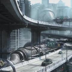 Движение на Мидгарском шоссе в <i>Final Fantasy VII</i> remake.
