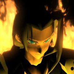 Знаковая сцена Сефирота среди языков пламени в <i>Final Fantasy VII</i>.