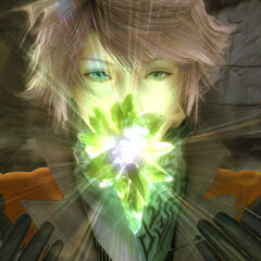 Captura de tela promocional de Hope evocando Alexander; observe seu cabelo rosa.