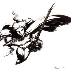 Черно-белая версия иллюстрации Амано для логотипа к римейку игры.
