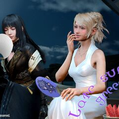 A late summer greeting from Square Enix featuring Gentiana (left) and Lunafreya Nox Fleuret (right).