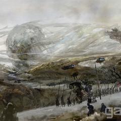 Arte conceitual das forças de Niflheim se aproximando do Disco de Cauthess.