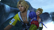 Tidus and rikku riding snowmobile