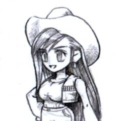 Concept art of Tifa's cowgirl field model by Tetsuya Nomura.