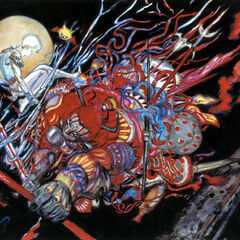 Yoshitaka Amano artwork of Gilgamesh and Bartz for <i>Final Fantasy V</i> (Advance).