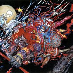 Gilgamesh contra Bartz por Yoshitaka Amano.