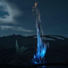 Светящийся метеорит ночью.
