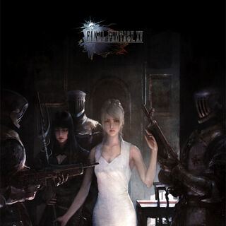 Lunafreya and Gentiana stand with magitek infantrymen.