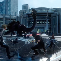 Noctis battles several enemies in Insomnia in a trailer.