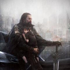 Концепт-арт Ноктиса-ребенка и Региса с мечом.