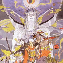 Artwork by Yoshitaka Amano of Firion's party and the Emperor.