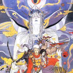 Arte por Yoshitaka Amano da equipe de Firion e o Imperador.