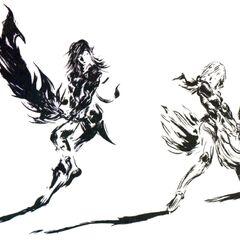 Yoshitaka Amano artwork of Caius and Lightning for the game's logo.