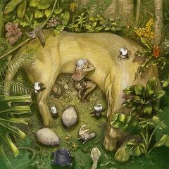 Arciela jovem sendo protegida enquanto dorme em uma florest.