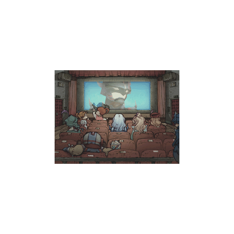 Artwork of <i>Final Fantasy IV</i> characters inside an event theater.