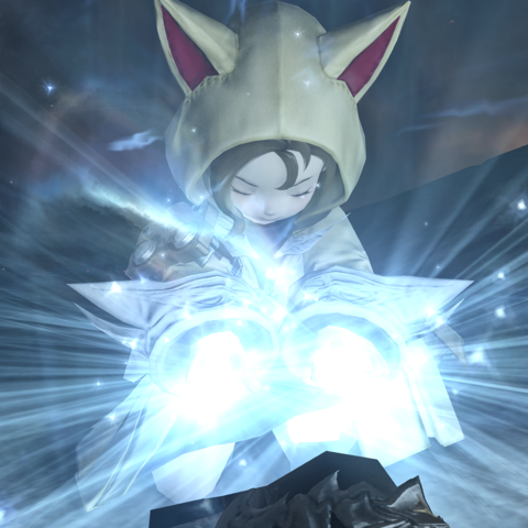 Krile healing Y'shtola with her white magic.