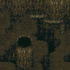 Inside Crescent Mountain Cave (SNES).