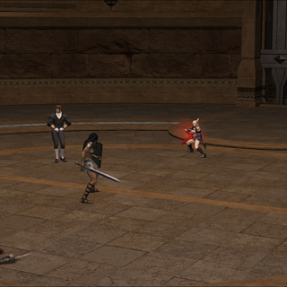 Combatants fighting in the coliseum.