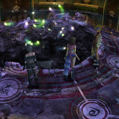The hole in Kilika Temple's Chamber of the Fayth in <i>Final Fantasy X-2</i>.