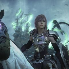 Lightning on Odin in Gestalt Mode in <i>Final Fantasy XIII-2</i>.