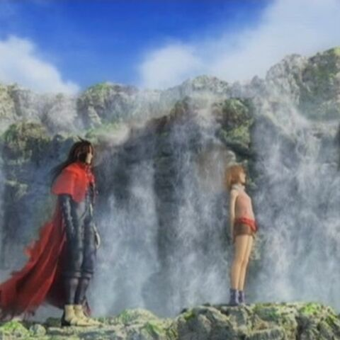 Vincent and Shelke outside Lucrecia's Cave in <i>Dirge of Cerberus</i>.
