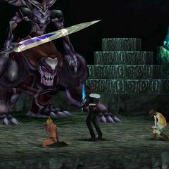 Ultima Weapon raises his sword.