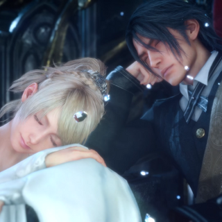 Lunafreya on the throne of Lucis with Noctis in <i>Final Fantasy XV</i>.