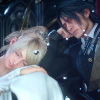Лунафрейя и Ноктис на тоне Люциса в <i>Final Fantasy XV</i>.
