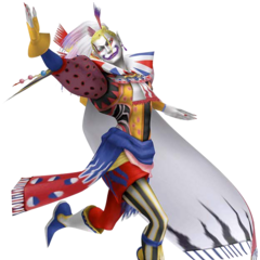 Render from <i>Dissidia Final Fantasy</i> of Kefka's second outfit, based on his chibi art.