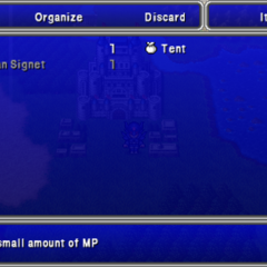 Item menu in the PSP version.