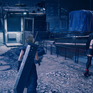 Aerith, Cloud, and Tifa exploring the area in <i>Remake</i>.
