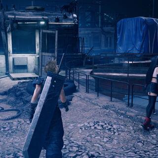 Аэрис, Клауд и Тифа исследуют локацию в <i>Remake</i>.