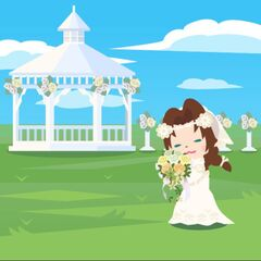 Aerith with her bouquet during the June Bride event.